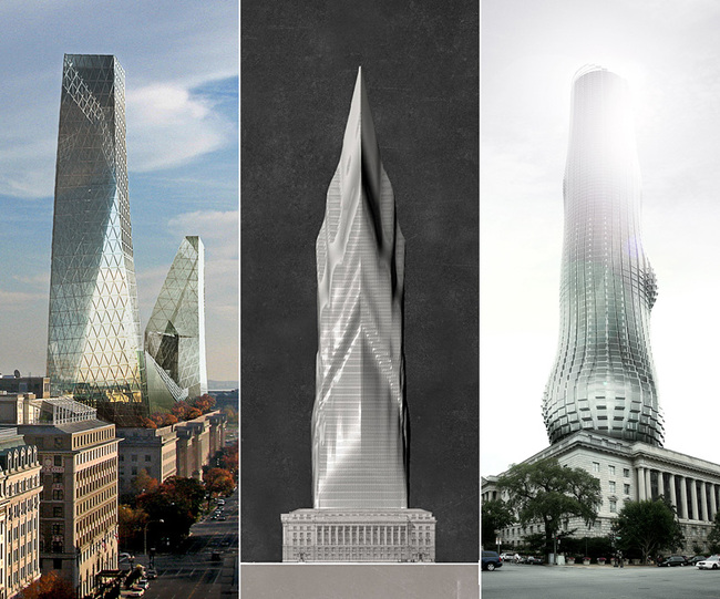 "The three featured skyscraper proposals for ""TALLDC: New Monumentalism"": The Iceberg, The Tiber, and The EVE."
