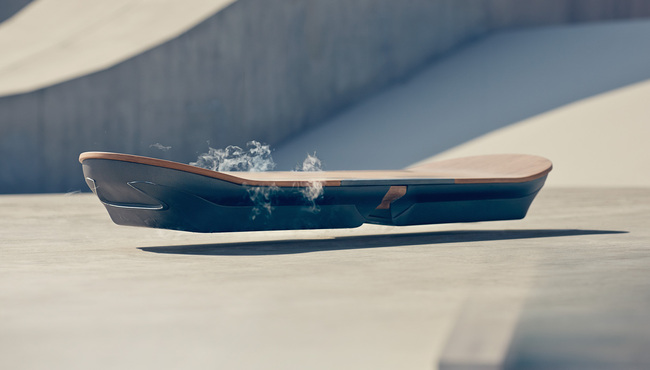 """The Lexus-designed """"SLIDE"""" hoverboard, which uses liquid nitrogen-cooled superconductors and magnets. Credit: Lexus"""