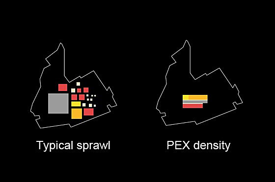 Diagram, sprawl vs. density (Image: OMA)