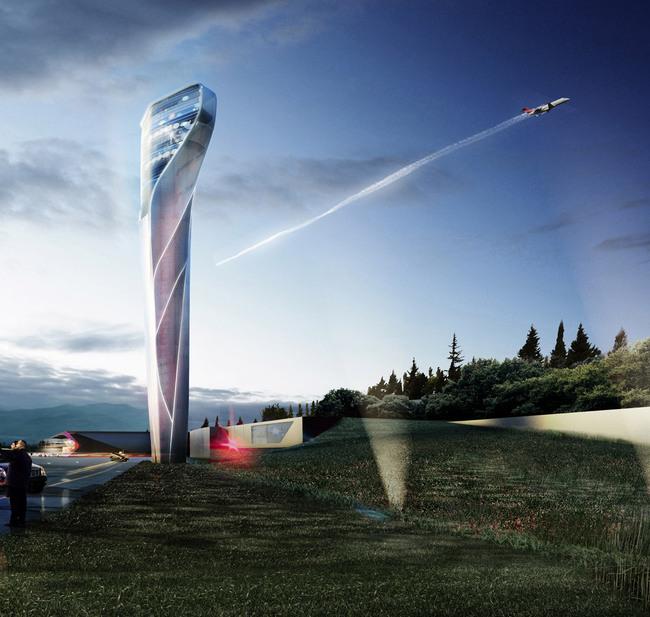 Rendering of the UNStudio-designed Kutaisi Airport Control Tower (Image courtesy of UNStudio; Rendering: moka-studio)