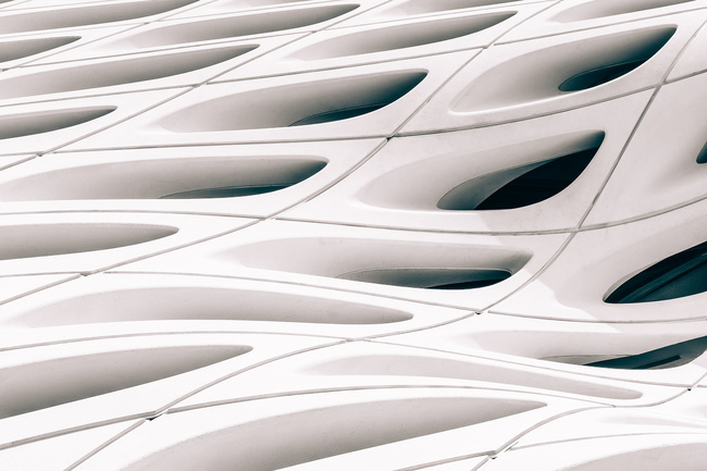 "Details of The Broad Museum's facade. Photo: Jon Grado/<a href=""https://www.flickr.com/photos/jonathan-grado/26829667380/""target=""_blank"">Flickr</a>."