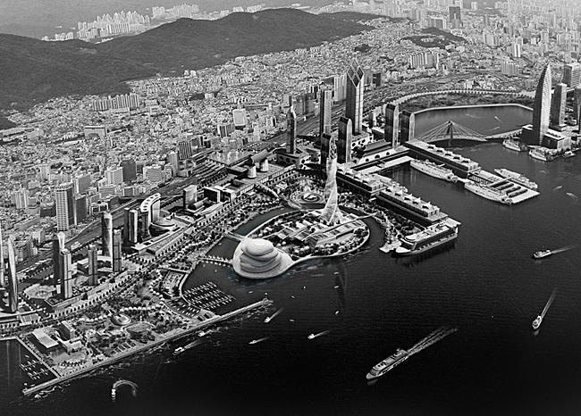 Aerial view of downtown Busan, South Korea (Image: PRAUD)