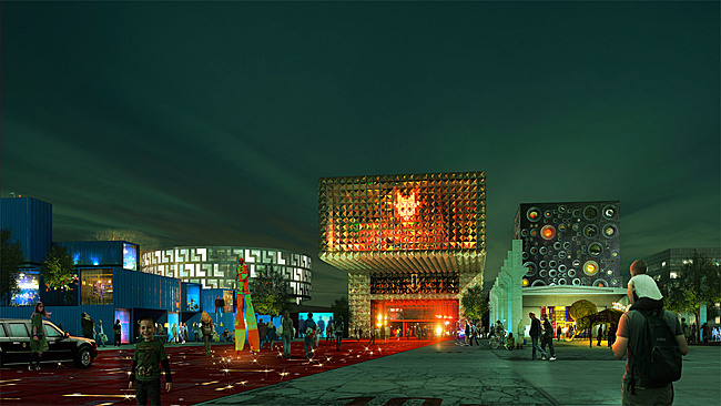 ROCKmagneten plaza, from left: student housing Rock Museum and Festival HQ (Image: Luxigon)