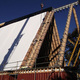 Construction of the Cardboard Cathedral's roof, made of 98 20-ft. beams encased in cardboard.