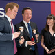 Prince Harry and British Prime Minister David Cameron with their Makidolls