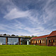 The rolling lawn with oak clad archive (Photo: Richard Bryant Photography)