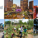Urban Open Space Award 2014 finalists (clockwise from top): Columbus Commons and Scioto Mile (Columbus, Ohio); Guthrie Green (Tulsa, Oklahoma); Washington Park (Cincinnati, Ohio); The Railyard Park and Plaza (Santa Fe, New Mexico); Klyde Warren Park (Dallas, Texas)