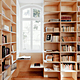 Main floor. Library with custom made bookshelves in birch plywood. © 2011 – do mal o menos