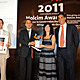 Holcim Silver Award: Luca Atanasio, Consul General of Italy in Morocco; Piero Corpina, Deputy Country Manager, Holcim Italy; winner Giovanna Claudia Rosa Romano, ARC - Architettura e Cooperazione; and Javier de Benito, Area Manager Holcim for Mediterranean & North Africa.