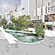 A future collage of Wilshire Blvd. The collage titled A Corridor Transformed La Milla Milagrosa is by Rios Clementi Hale Studios based in Los Angeles. Photograph by Michelle Marsh, collage by Rios Clementi Hale Studios.
